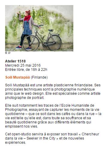 Announcement at Cité des Arts Website