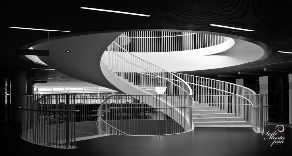 Helsinki University Library. Kaisa House Spiral Stairs. Photo Soili Mustapää 2012