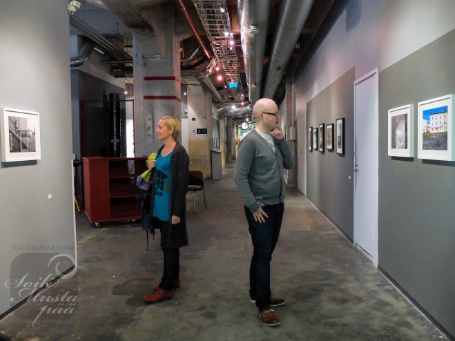 "Visitors in front of my Works @ Photography Exhibition ""The City of Man"" at Jukka Male Museum, Cable Factory, Helsinki."